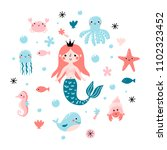vector set with cute princess...   Shutterstock .eps vector #1102323452
