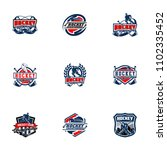 set of professional hockey... | Shutterstock .eps vector #1102335452