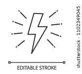 lightning bolt linear icon.... | Shutterstock .eps vector #1102349045