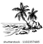 tropical landscape with palm... | Shutterstock .eps vector #1102357685
