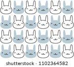 kawaii cute hare pattern.... | Shutterstock .eps vector #1102364582