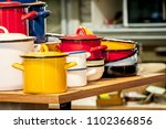 colorful enamel soup pots   Shutterstock . vector #1102366856