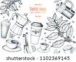 coffee cups  beans and coffee... | Shutterstock .eps vector #1102369145