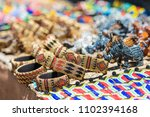 colorful african bracelets bead ... | Shutterstock . vector #1102394168