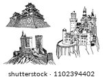 graphical medieval castles... | Shutterstock .eps vector #1102394402
