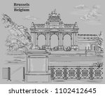 the triumphal arch in the park... | Shutterstock .eps vector #1102412645