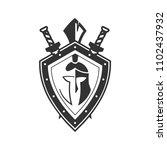 military symbol on shield... | Shutterstock .eps vector #1102437932