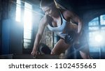 strong athletic woman does... | Shutterstock . vector #1102455665