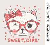 Stock vector cute cat face with pink glasses sweet girl slogan hand drawn vector illustration 1102461908