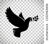 flying dove with olive twig... | Shutterstock . vector #1102463606