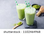 matcha green tea ice latte with ... | Shutterstock . vector #1102464968