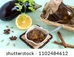 eggplant preserves with lemon... | Shutterstock . vector #1102484612