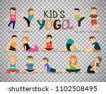 young kids in different yoga...   Shutterstock . vector #1102508495