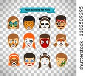 face painting  kids faces with... | Shutterstock . vector #1102509395