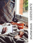 cozy home with cup of tea with... | Shutterstock . vector #1102513472