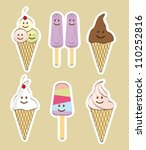 cute ice cream with faces over... | Shutterstock .eps vector #110252816