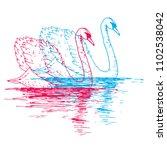 vector swan couple illustration ...   Shutterstock .eps vector #1102538042