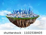 fantasy floating island with... | Shutterstock . vector #1102538405