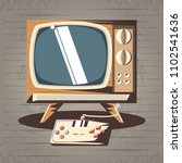 video game retro with tv | Shutterstock .eps vector #1102541636