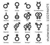 gender icons set on white... | Shutterstock . vector #1102546475