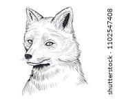 vector black and white fox head ... | Shutterstock .eps vector #1102547408