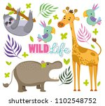 cute wildlife animals | Shutterstock .eps vector #1102548752