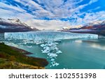 a view of the lake and glacier...   Shutterstock . vector #1102551398