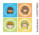 peace and childrens cartoon... | Shutterstock .eps vector #1102579802