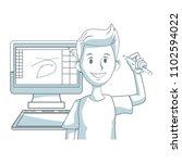 graphic designer working | Shutterstock .eps vector #1102594022