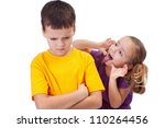 Young girl mocking angry boy - isolated - stock photo