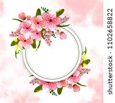 floral vector round frame with ...   Shutterstock .eps vector #1102658822