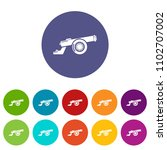 cast iron cannon icons color...   Shutterstock .eps vector #1102707002
