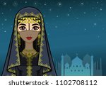 arab night. animation portrait... | Shutterstock .eps vector #1102708112