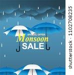 monsoon season sale. raining... | Shutterstock .eps vector #1102708235