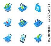 handcart icons set. isometric...   Shutterstock .eps vector #1102715435