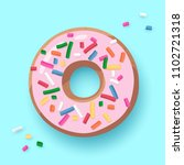 donut with pink glaze  doughnut ... | Shutterstock .eps vector #1102721318