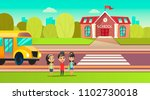 pupils are near the school bus. ... | Shutterstock .eps vector #1102730018