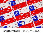 flags  of chile  behind a glass ... | Shutterstock . vector #1102743566