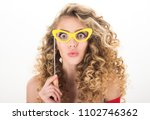 woman with curly hair. portrait ... | Shutterstock . vector #1102746362