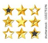 gold stars set. vector.   Shutterstock .eps vector #110275196