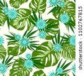 monstera leaves and gerbera... | Shutterstock .eps vector #1102767815