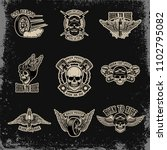 set of emblems for biker club.... | Shutterstock .eps vector #1102795082