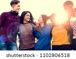 group of school friends... | Shutterstock . vector #1102806518