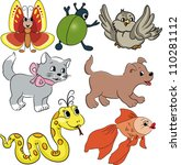 vector cartoon animals | Shutterstock .eps vector #110281112