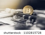 gold bitcoin electronic... | Shutterstock . vector #1102815728