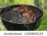 barbecue grill with flame... | Shutterstock . vector #1102845125