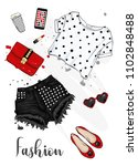 summer fashionable outfit.... | Shutterstock .eps vector #1102848488