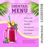 cocktail menu poster. fruit... | Shutterstock .eps vector #1102855508