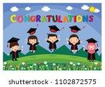 congratulated kids graduate... | Shutterstock .eps vector #1102872575