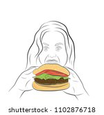 the girl is fast food. the... | Shutterstock .eps vector #1102876718